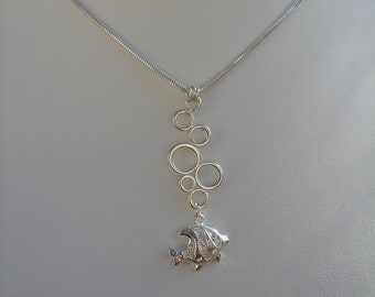 "925 Silver chain! Fish with ""Bubbles""."