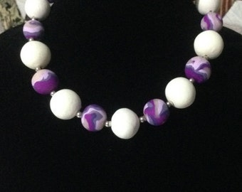 Odessey - Handmade Marbled Purple & White Statement Necklace