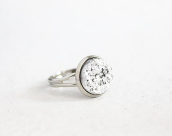 Metallic silver adjustable druzy ring, crystal ring