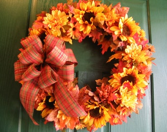 Fall Door Wreath, Autumn Wreath