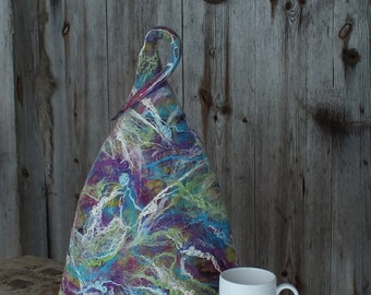 Modern French Coffee Pot Warmer, Colorful Felted French Press Pot Cover, Multicolored Coffee Pot Cozy