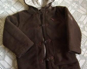 8 duffel coat, fleece coat with hood, boy or girl, Brown faux fur, french Vintage
