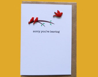sorry you're leaving. Enamelled wooden birds card.  Moving away, new job, emigrating - Hand-enamelled art card.