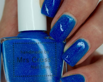 Mullet - 10ml - Bright Blue Neon Nail Polish - handmade in the UK Indie Nail Polish