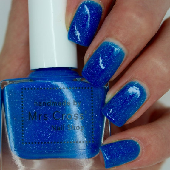 Neon Blue Nail Polish: Mullet 10ml Bright Blue Neon Nail Polish Handmade In The