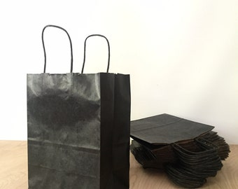 destash - 25 black paper shopping bags for craft shows, small cub size
