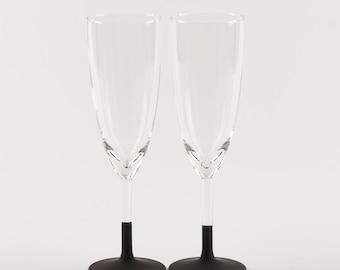 2 Chalkboard Champagne Glasses | Champagne Flutes | Perfect for Valentine's Day | Anniversary Celebration!