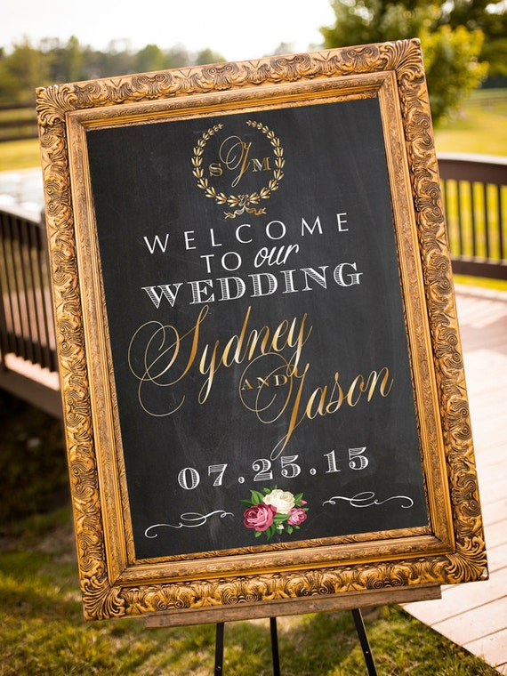 Wedding Welcome Sign, Printable Personalized Sign, DIGITAL Sign, Names & Date, Large Wedding Sign, Choose Colors, Gold, Silver, Chalkboard