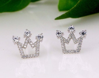 Silver Royal Crown Stud Earrings - Minimal Sterling Post Earrings - Simple Earrings - Crown jewelery