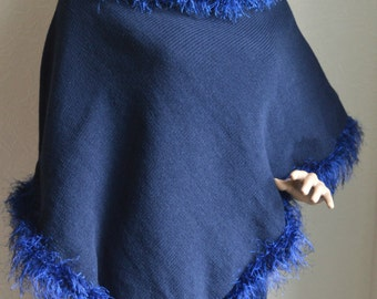 Knitted women's poncho - skirt suit