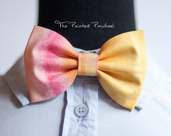 Pink, Orange, and Yellow Vertical Watercolor Paint Patterned Bow, Bow Tie, Pocket Square