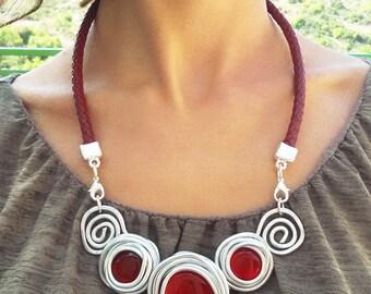 Red Statement Necklace, Red Bib Necklace, Leather Jewelry, Wedding Jewelry, Bridesmaid Necklace, Wedding Necklace, Daniela Palatnik.