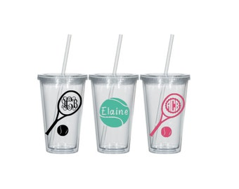 Tennis Personalized 16 oz clear tumbler Personalized Monogram Sports Water Bottle Sports bottles Name water bottle