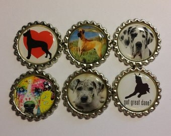Set of 6 Great Dane Finished Bottle Caps - Magnet Set - Necklace Set
