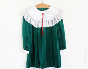 Girls Christmas Dress // Size 5 Vintage Dress for Girls // Girls Green Velvet Vintage Christmas Dress