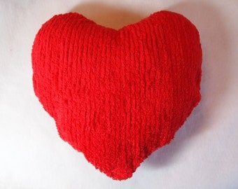Heart Shaped Pillow, Chenille fabric Red.
