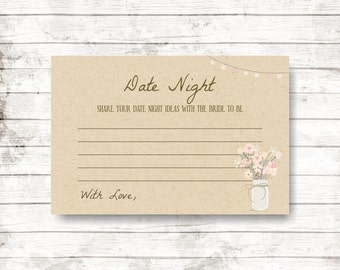 date night ideas, rustic bridal shower, shower game ideas, bridal shower games, date ideas, wedding games, mason jar, printable -  br16