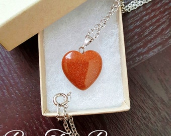 Red Goldstone | Heart Shape Rock Pendant | Gift For Her