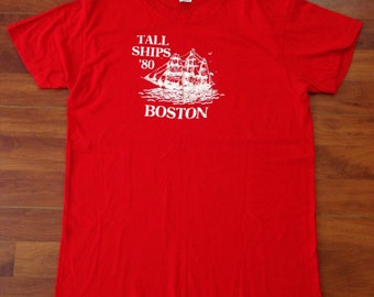 1980 Tall Ships Boston Retro T-shirt - Hanes 100% Cotton - Large - Free USA Shipping - Made in USA