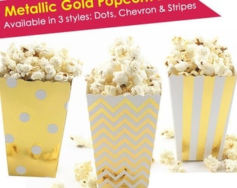 Popcorn Bags Wedding- Popcorn Box- Popcorn Favor Bags- Gold Popcorn Favors- Wedding Favor- Wedding Popcorn Bar Bags- Silver Treat Boxes