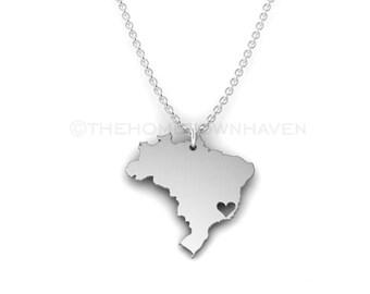 Brazil Necklace - Brazil Pride, I heart Brazil, Brazilian Pride, Rio De janeiro