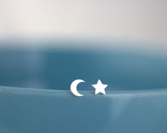 Moon and Star Earrings, Tiny Star studs, Moon earrings, Mismatch earrings