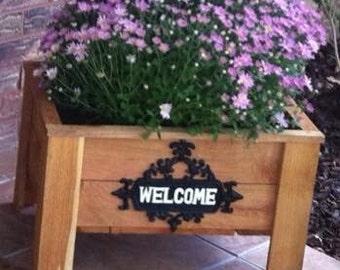 Welcome Sign Cedar Wood Planter Gard Box