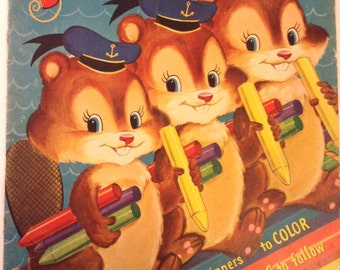 1954 Coloring Book Busy Beavers by Merrill