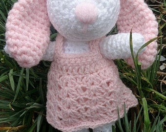 Pink and White Bunny Soft Toy. Crocheted Animal. Amigurumi Bunny. Rabbit Plushie.