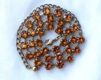 November Birthstone Necklace - 8mm Topaz Swarovski Crystal Necklace