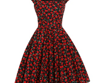 Floral Dress Sun Summer Dress Red Poppy Dress Thanksgiving Dress Plus Size Dress Party Dress 1950s Tea Dress Swing Dress Vintage Style Dress