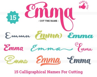 Emma - 15 Calligraphical Names For Cutting and Additional Icons - Cut The Name PNG, SVG, EPS, Studio3, Dxf - Girls Cut Files Cricut Pack