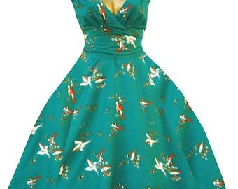 Teal swallow print retro rockabilly soft floaty 50's vintage dress