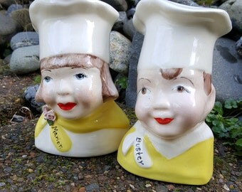 Baker Chef Couple Yellow Salt And Pepper Shakers Mid Century