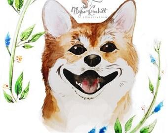 Dog Portrait: Shiba Inu (print)