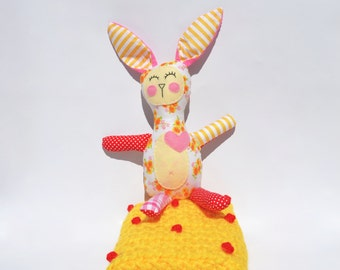 SALE **Mirabelle the sleeping plush bunny toy with matching polka dot crochet snuggie.