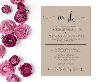 Wedding Invitation, Printable Wedding Invitation, Editable Wedding Invitation, Wedding Invitation Template, Editable PDF, WBWD4