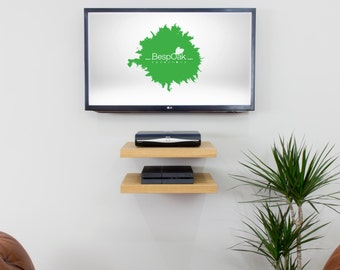 Floating TV AV Media Shelf in Solid Oak 50cm wide by 40cm Depth