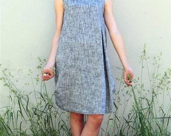 Gray tunic dress / Linen gray short dress / Dress with pockets / Sleeveless dress / Loose fit dress / Mini dress / High quality material