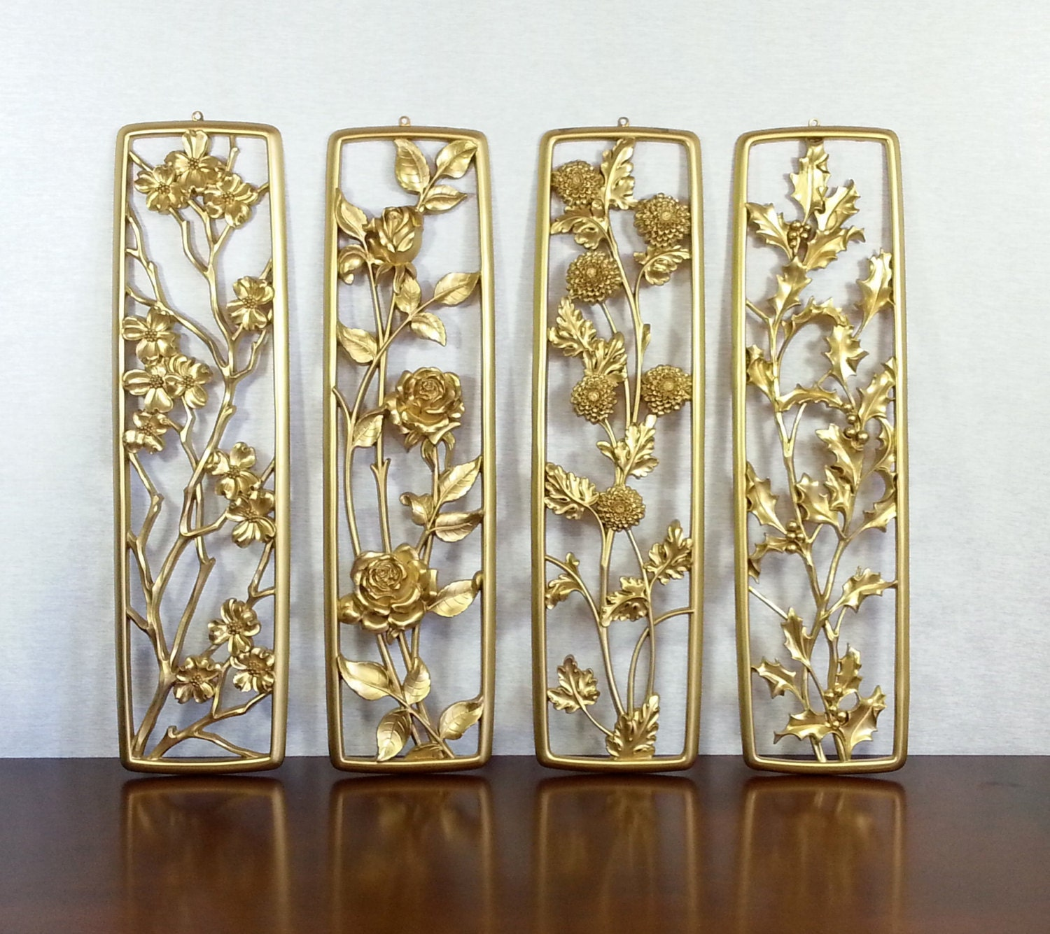 Vintage 1950 S Syroco Four Seasons Gold Finish Large Wall