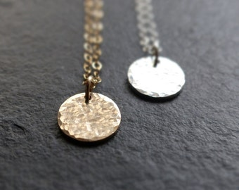 Twinkling 14k gold disc necklace, Sterling silver disc pendant, hammered disc, minimalist necklace, layering jewelry, simple necklace