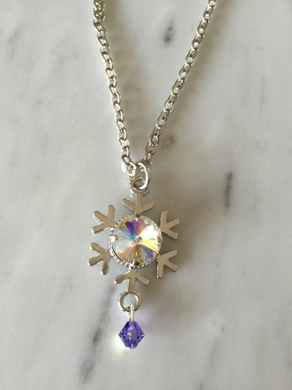 Glacier Blue Crystal Snowflake Pendant Necklace, Silver