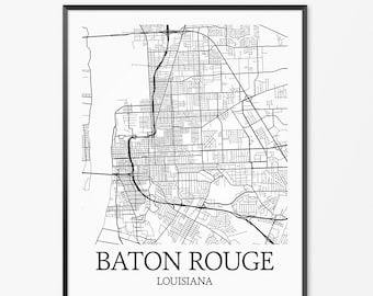 Baton Rouge Map Art Print, Baton Rouge Poster Map of Baton Rouge Decor, Baton Rouge City Map Art, Baton Rouge Gift, Baton Rouge Art Poster