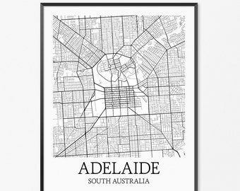 Adelaide Map Art Print, Adelaide Poster Map of Adelaide Decor, Adelaide City Map Art, Adelaide Gift, Adelaide South Australia Art Poster