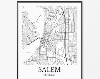 Salem Map Art Print, Salem Poster Map of Salem Decor, Salem City Map Art, Salem Gift, Salem Oregon Art Poster