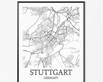 Stuttgart Map Art Print, Stuttgart Poster Map of Stuttgart Decor, Stuttgart City Map Art, Stuttgart Gift, Stuttgart Germany Art Poster