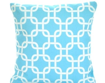 Aqua Pillow Covers, Decorative Throw Pillows, Cushions, Aqua White Gotcha, Pillows for Couch Bed, Throw Pillow, Girly Blue, One All Sizes