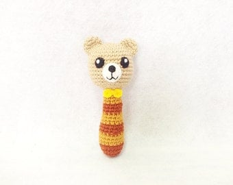 Soft Toy Baby Rattle Cute Bear Amigurumi with Bell inside, Hand crochet, Handmade rattle, Baby shower gift