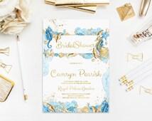 Watercolor Printable Invitation, Sea Invitation Bridal Shower, Summer, Seashells, Seahorse, Coral Reef, Starfish, Baby Shower, Wedding, Cute