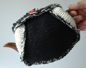Knitted wool tea cosy / insulated / black cream and red / medium size teapot